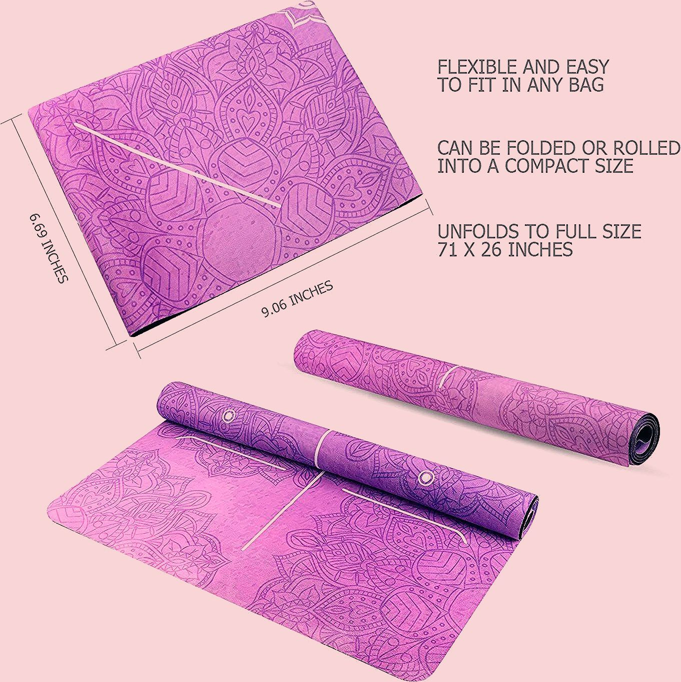 KUYOU Yoga Mat Foldable 1/16 Inch Thick Non-Slip Travel Yoga Mat Cover Pad Sweat Absorbent and Soft...