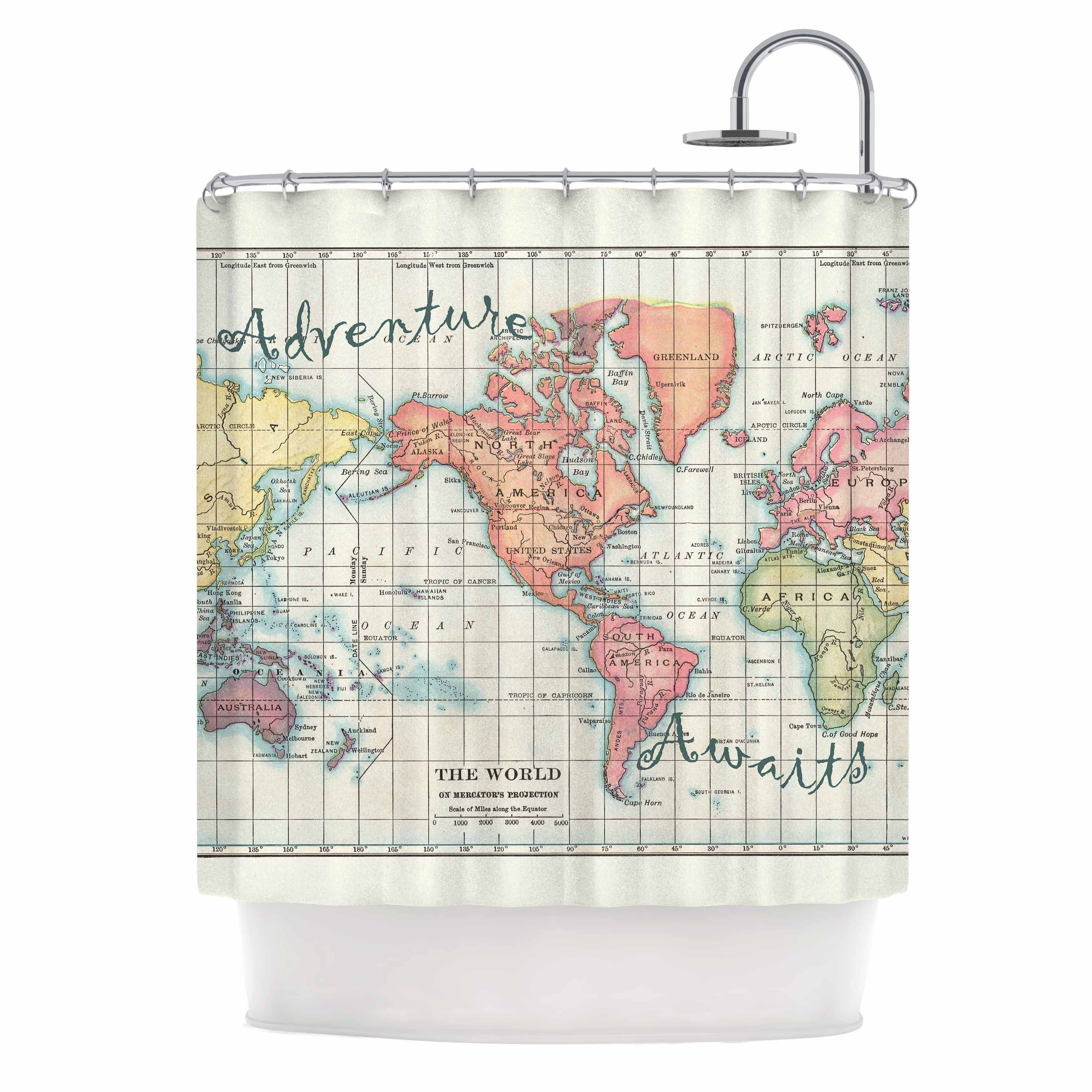 Adventure Awaits World Map Shower Curtain By Catherine Holcombe
