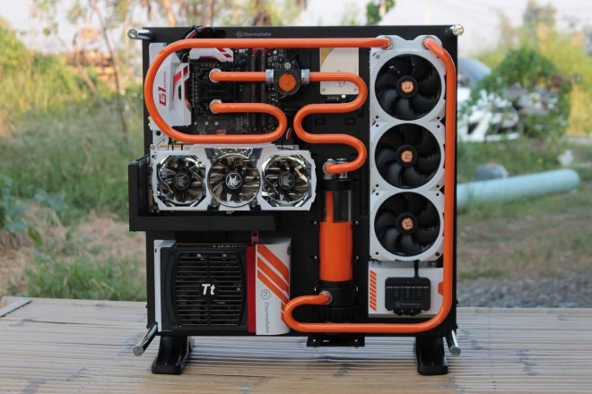 Orange Watercooled Thermaltake Core P5 Custom Computer Custom