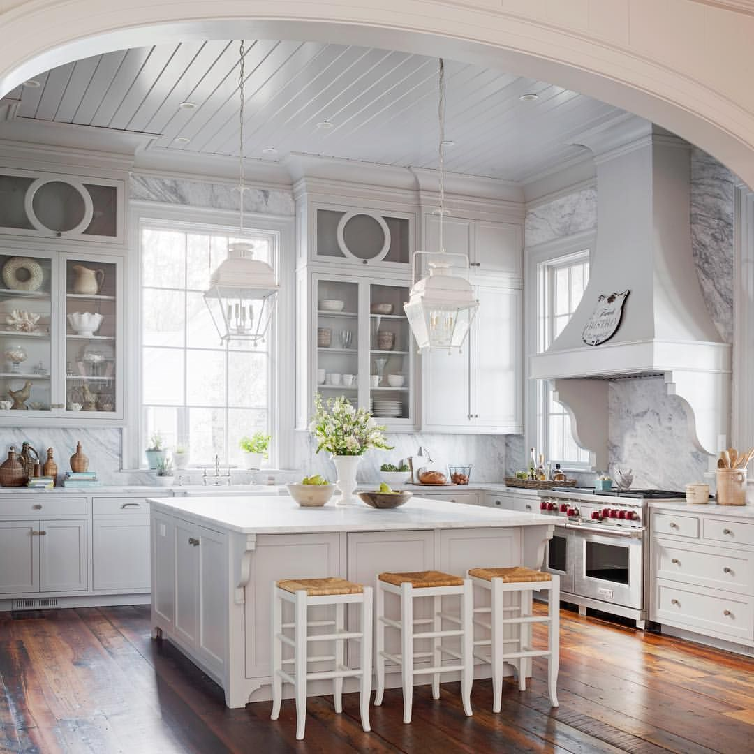 the granite backsplash in this gorgeous country french inspired kitchen runs all the way up to on kitchen cabinets to the ceiling id=99596