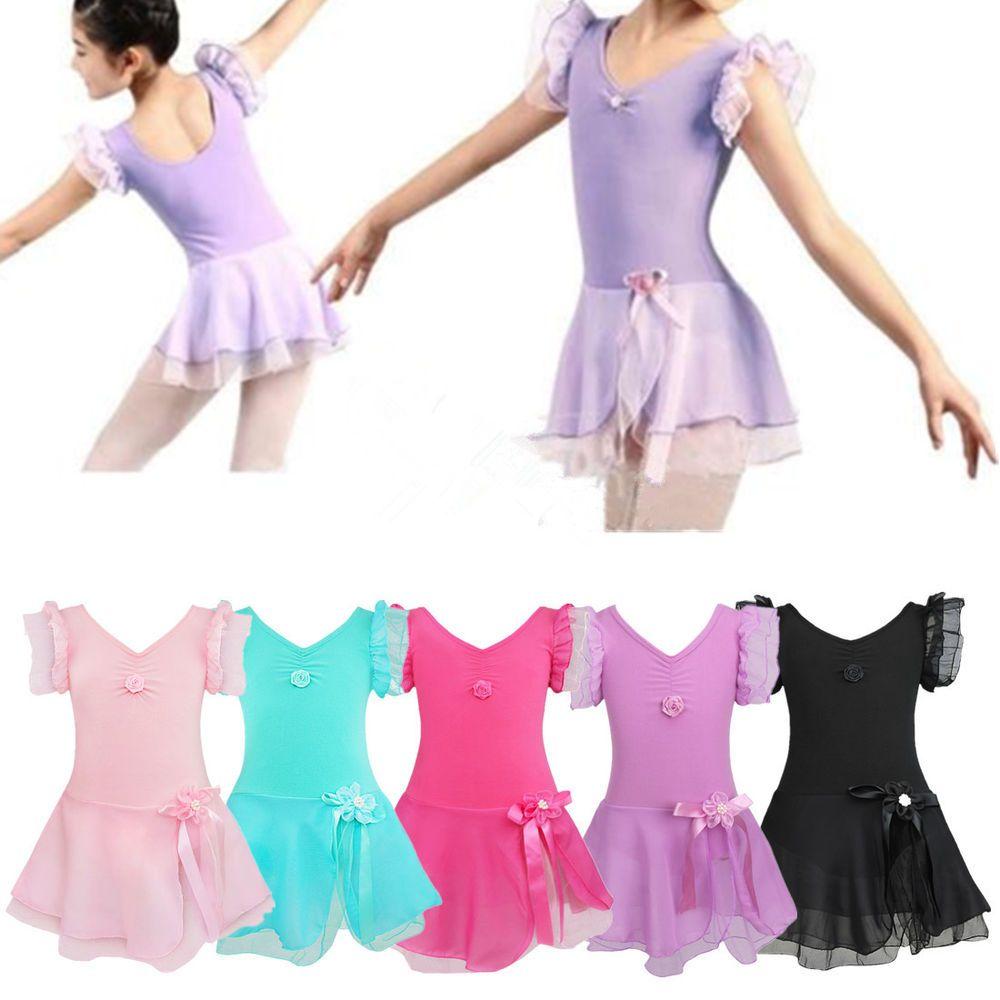 UK Girls Ballet Dance Leotard Dress Child Ballroom Dancing Gymnastics Tutu Skirt