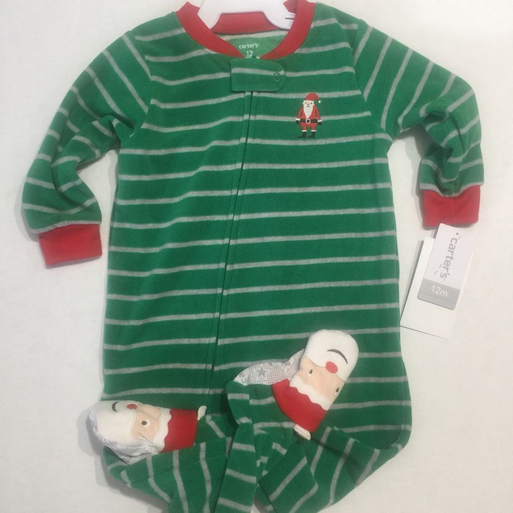 48f51edc9 Carters Infant Boys Sleeper Green Stripe Santa Design 12 Months ...