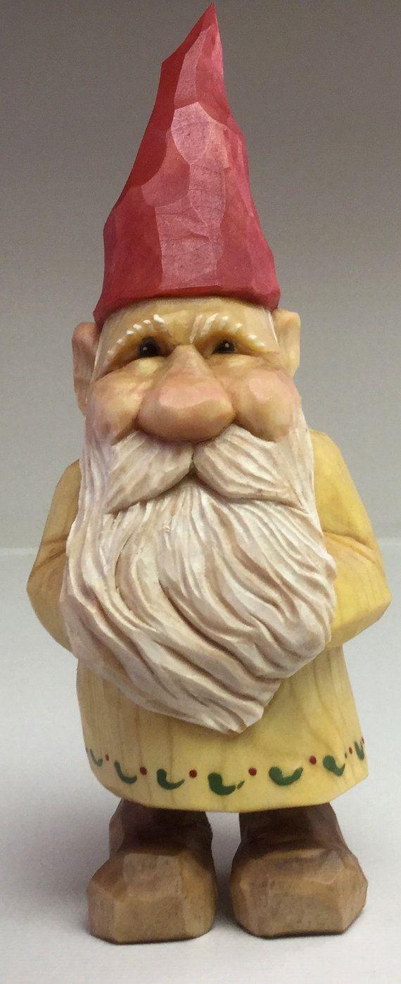 Gnome elf santa christmas wood carving statue estatuas pinterest