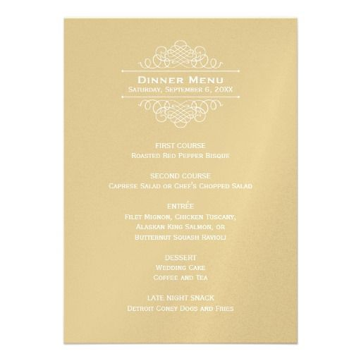 Wedding Dinner Menu Card  Gold Classic Elegance  Wedding Dinner