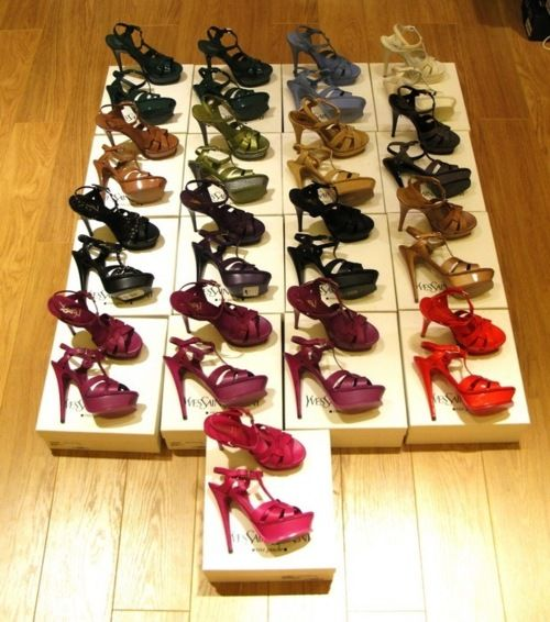 rainbow of YSL sandals. yes please!
