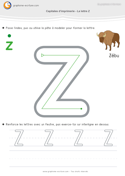 Maternelle ecriture moyenne section ms apprendre crire capitales imprimerie lettre z pinterest - Z en majuscule ...