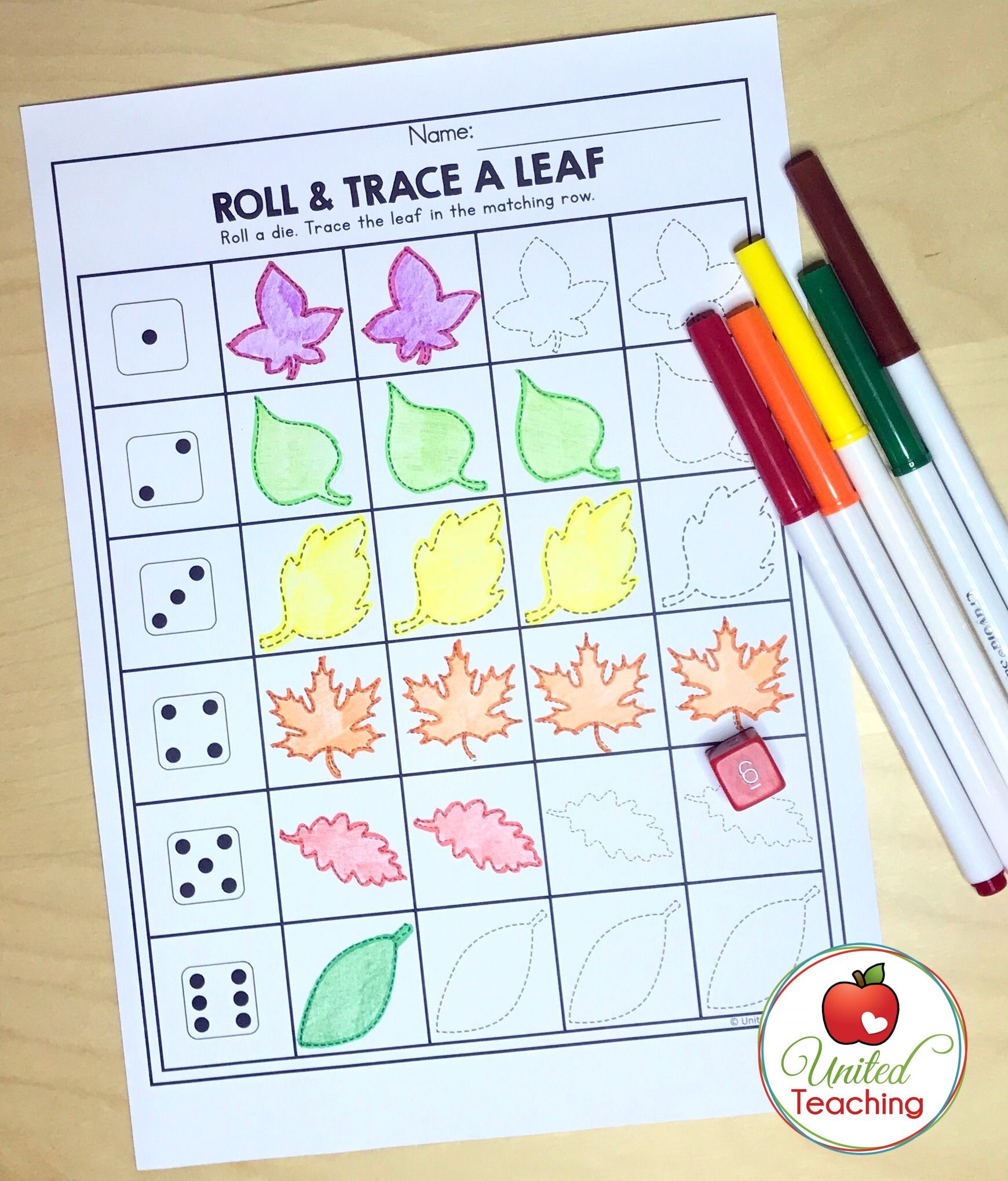 Roll Amp Trace A Leaf Children Practice Tracing And Fine