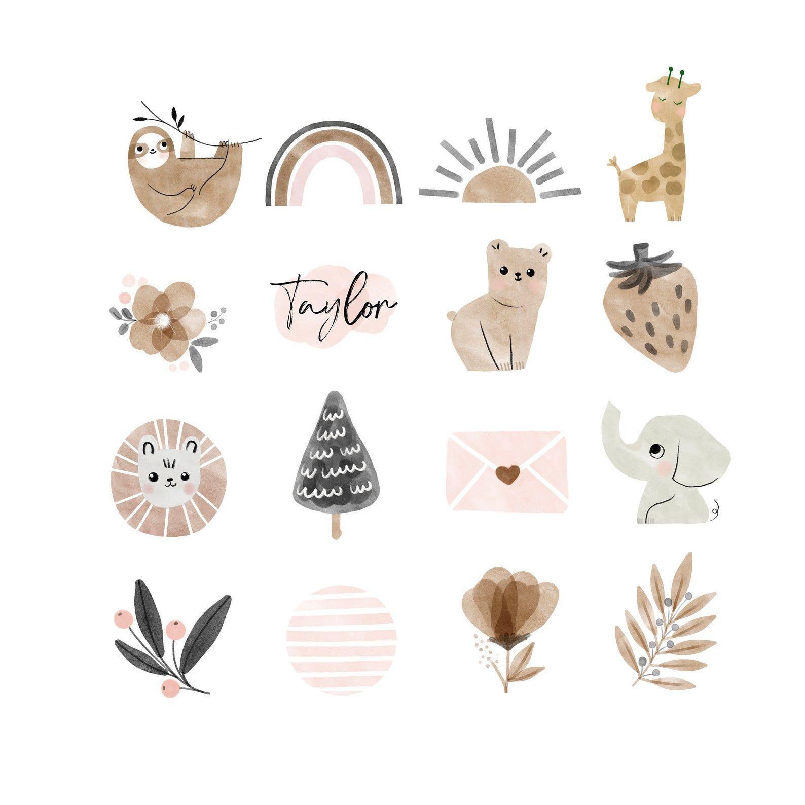 Boho instagram story highlight icons baby animal sloth