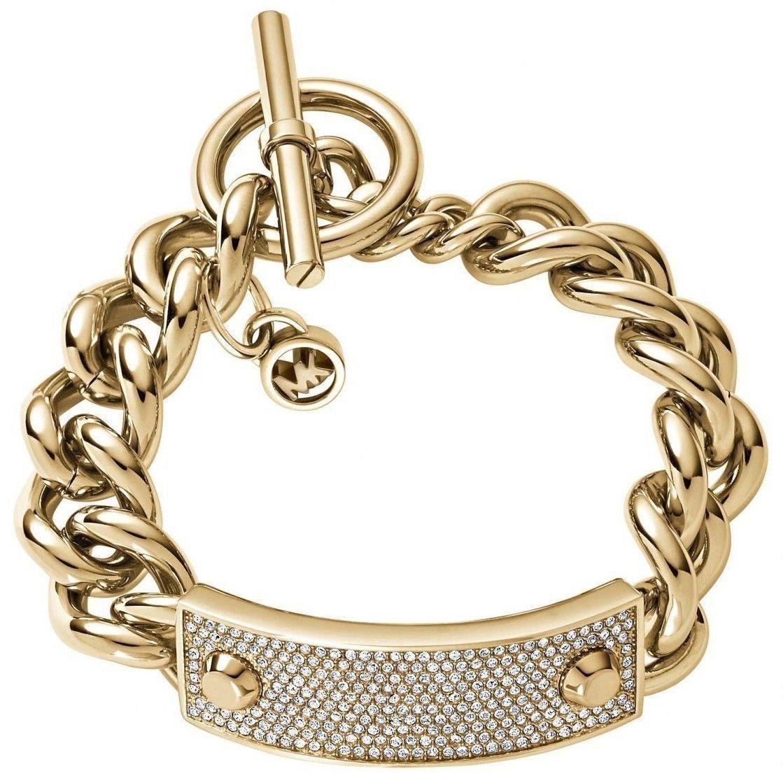 ddf8fccc02e21 Michael Kors MKJ3543 Heritage Plaque Ladies Gold Tone Bracelet ...