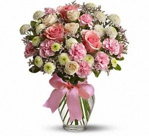Cotton Candy A Feminine Arrangement Of Pink Roses And Carnations We Have A Wide Variety Of Flowers Arrang New Baby Flowers Get Well Flowers Carnation Flower