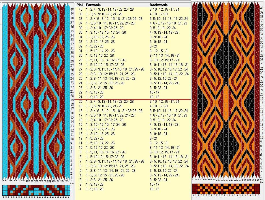 Two opposite threadings, same movements / 26 tarjetas, 3 colores, repite cada 20 movimientos // sed_642 & sed_642a diseñado en GTT༺❁