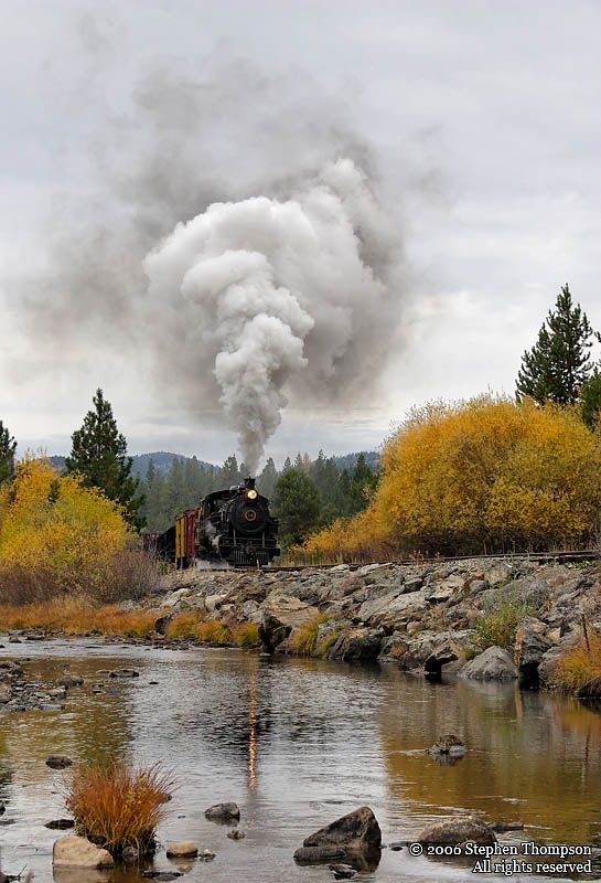 Sumpter Valley Railway's Number 19, a 3' gauge  2-8-2 built by Alco steams  along the Powder River.
