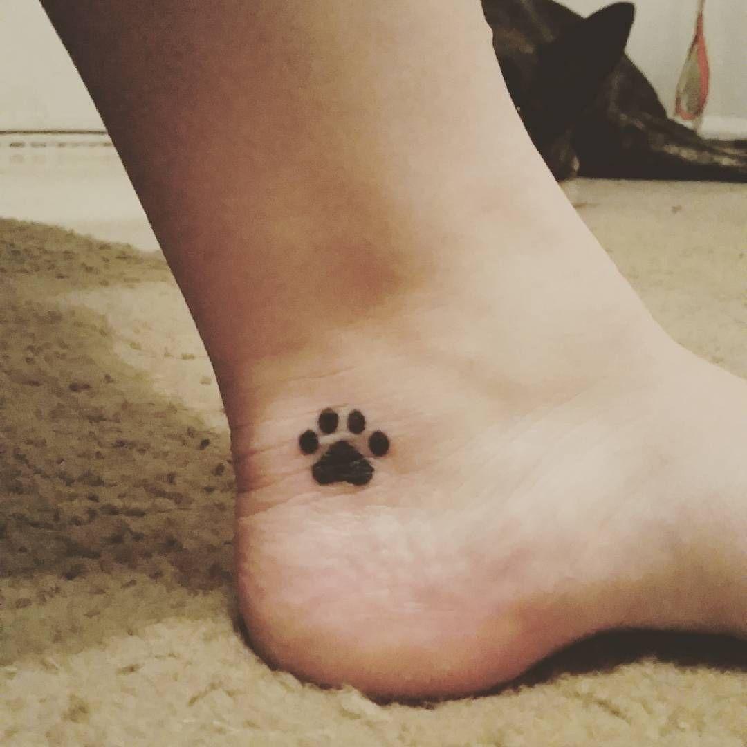 "Pawprint Foot Tattoo: ""Got Myself A New Little Ink #lovemydogs #furbabies"
