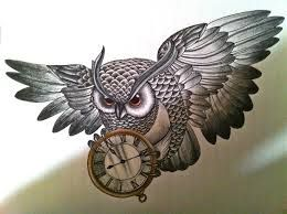 Image Result For Owl Clock Tattoos Meaning Tattoos