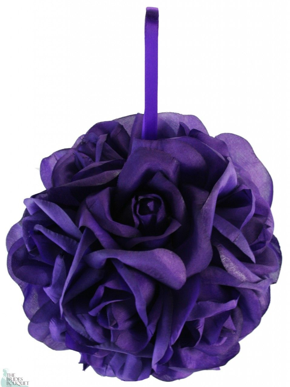 Garden Rose Kissing Ball - Purple - 6 inch Pomander - TheBridesBouquet.com