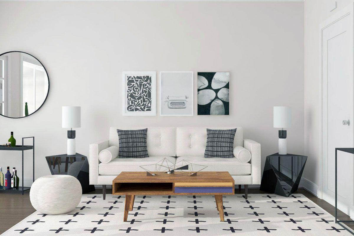Black And White Minimal Living Room Design Mid Century Modern Industrial Style Spotlight Mod Visionary