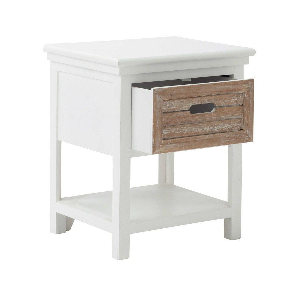 table de chevet avec tiroir en bois blanche l 40 cm. Black Bedroom Furniture Sets. Home Design Ideas
