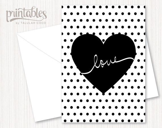 Love Printable Note Card Black And White Polka Dots Heart Handwritten Valentine Lettering Modern Mini Printable Note Cards Valentine Template Printable Notes