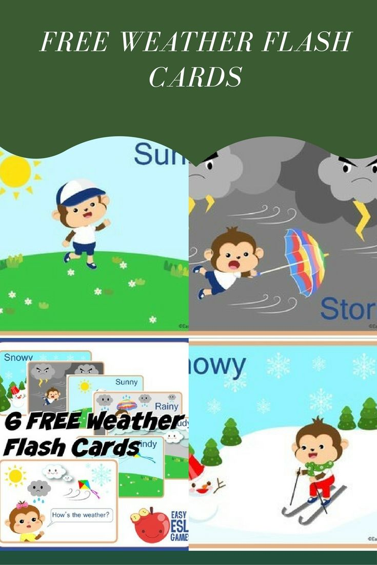 7 Bright and colorful weather flash cards for any classroom use ...