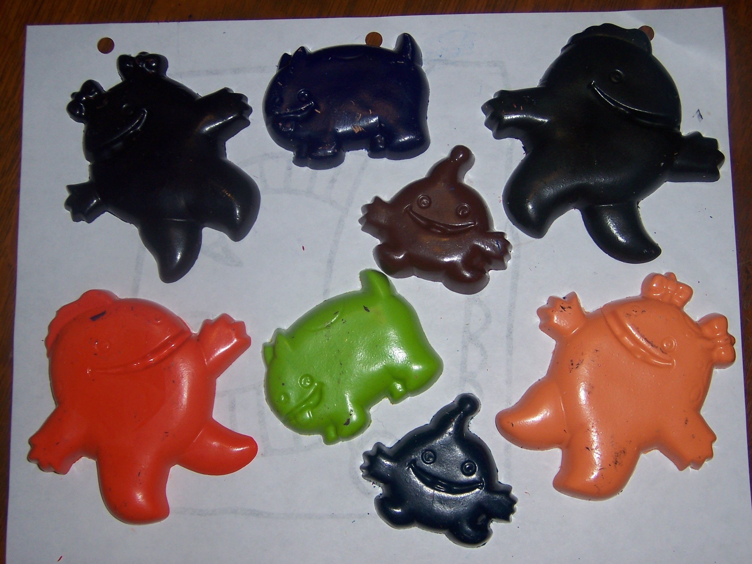 Monster crayons made using candy molds
