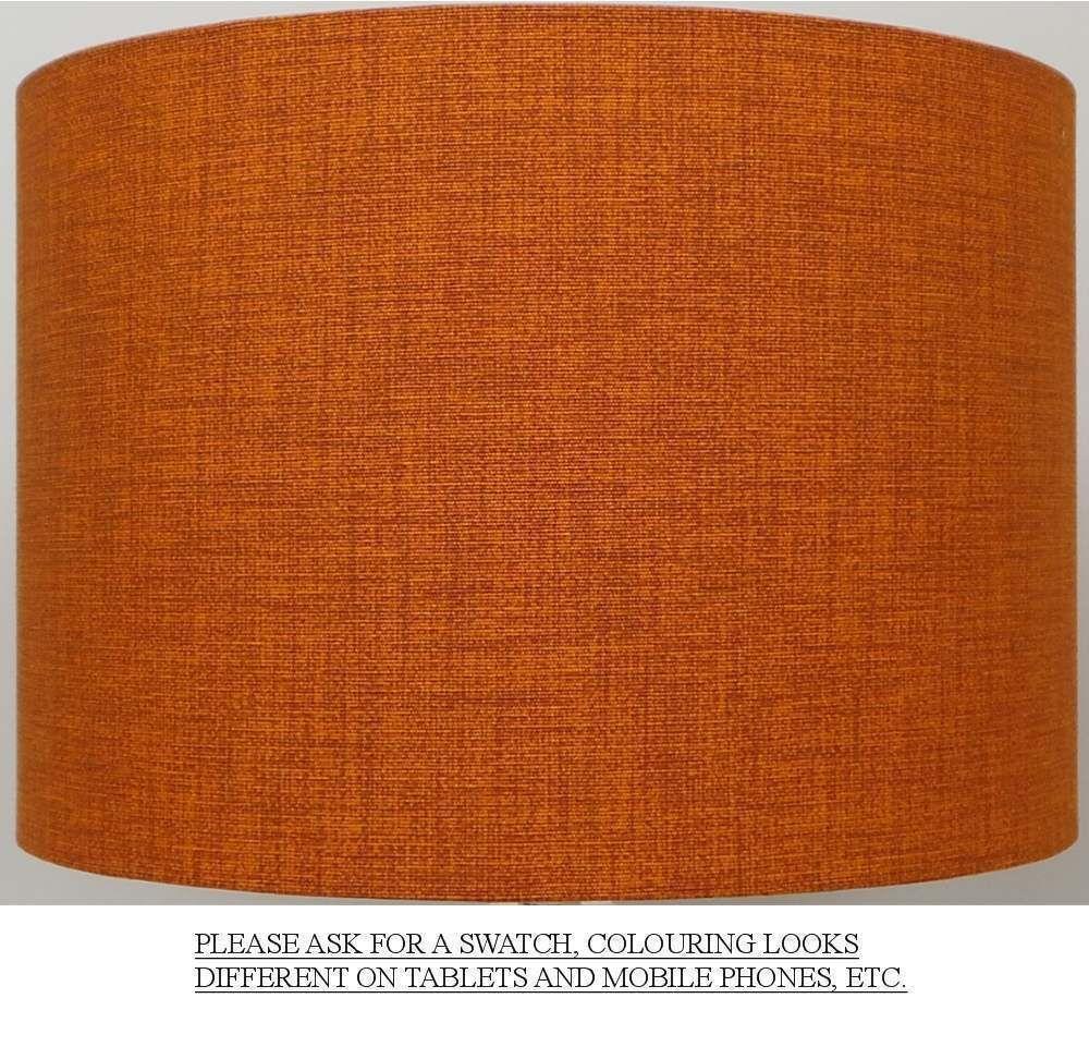 Burnt Orange Rust Linen Style Cylinder Drum Lampshades Orange Lampshade Orange Lamps Lamp Shade