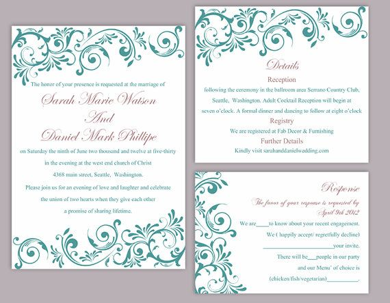 Diy wedding invitation template set editable word file instant download printable invitation teal wedding invitation blue