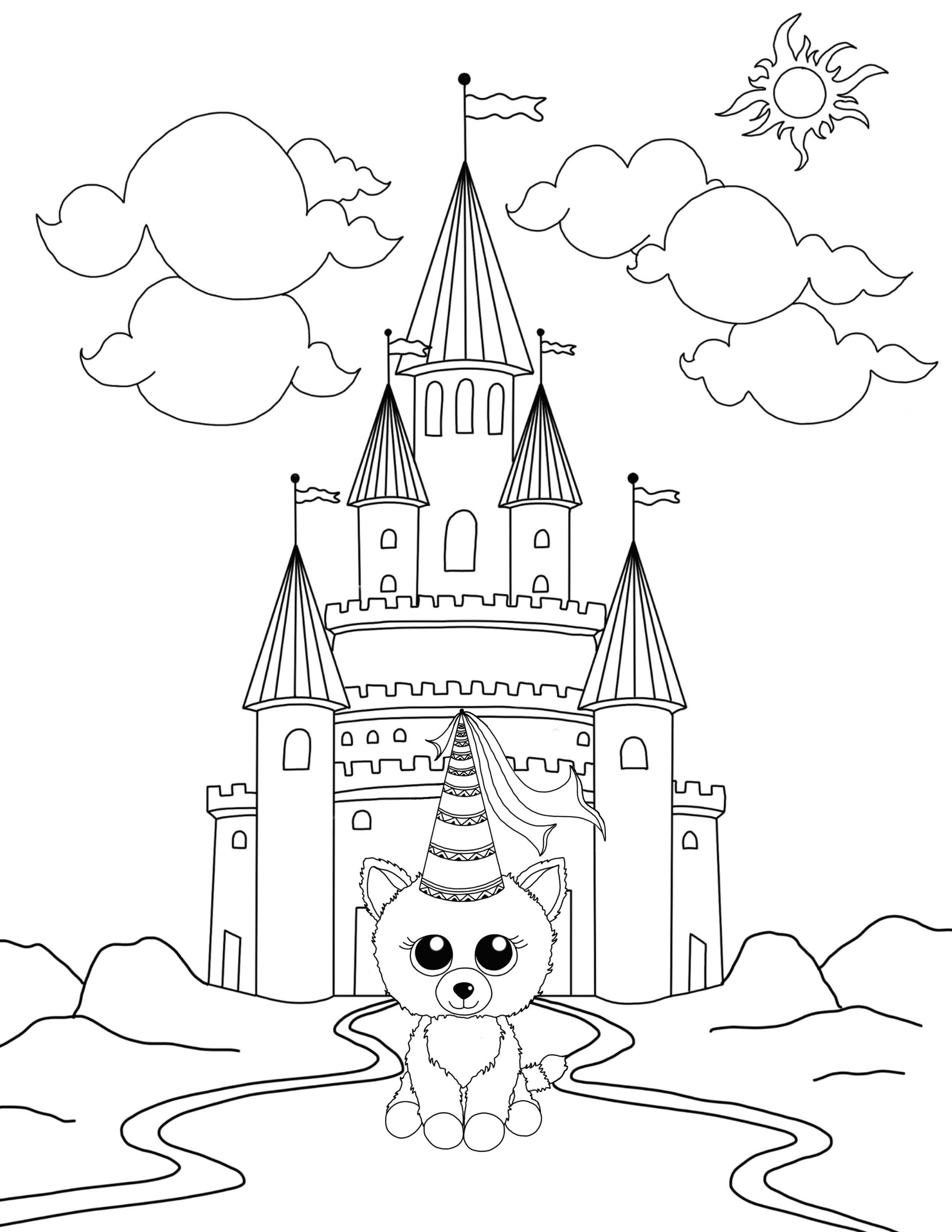 Princess Cat Coloring Page Youngandtae Com In 2020 Halloween Coloring Pages Cat Coloring Page Castle Coloring Page
