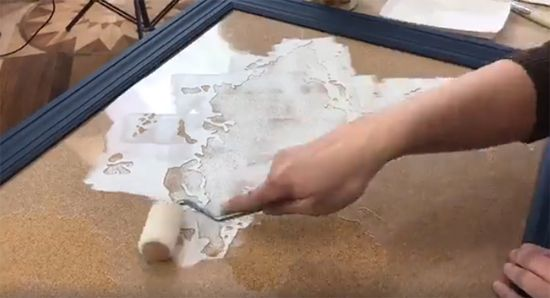 How to stencil a cork board using the world map pattern cork learn how to stencil a cork board with the world map wall art stencil from cutting gumiabroncs Images