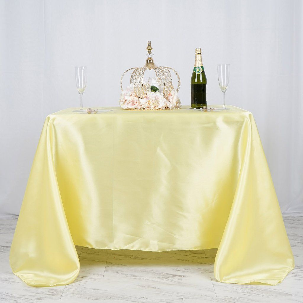 90 X 90 Yellow Seamless Satin Square Tablecloth Square Tablecloth Table Covers Wedding Table Cloth