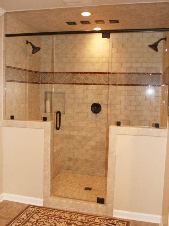 Yes just what we both wanted half wall and two shower for Double shower bathroom designs