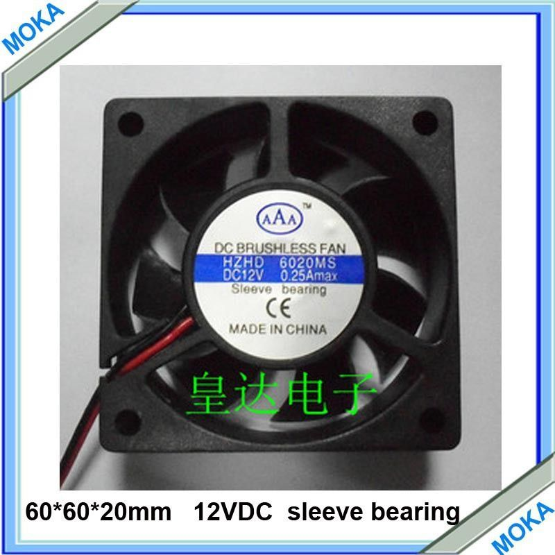 Free Shipping Good Quality 10 pcs a Lot DC 12V 60*60*20mm 6020 Axial Cooling Fan