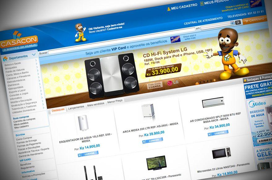 Layout da loja virtual da Casacon (Angola) - http://www.wt11.com.br/portfolio/