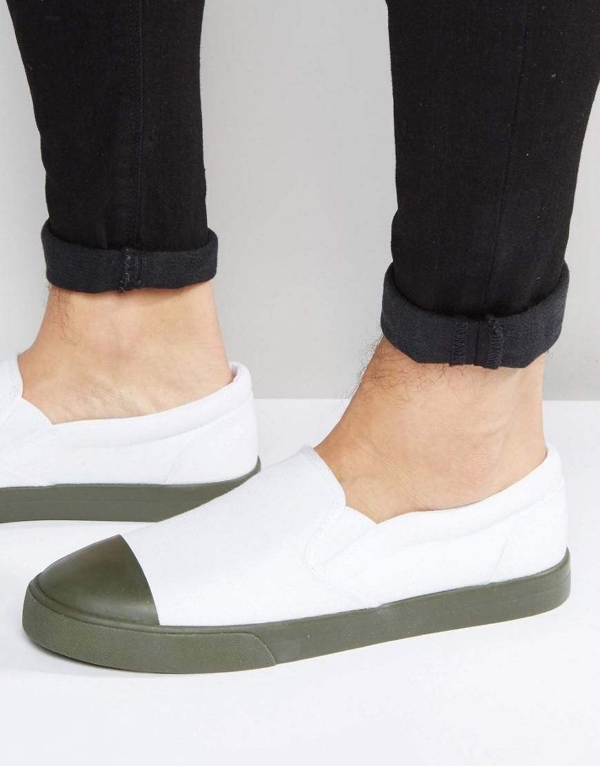 8205a630ae9c2 ASOS | ASOS Slip on Plimsolls in White Canvas With Khaki Sole at ASOS