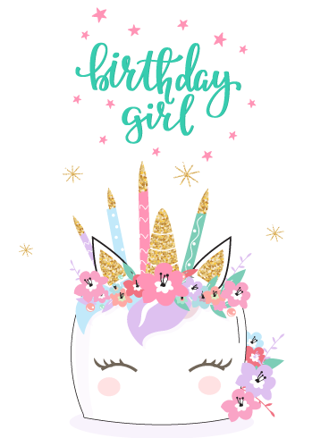 Candle Crown Unicorn Happy Birthday Card For Girls Birthday Greeting Cards By Davia Happy Birthday Wishes Cards Happy Birthday Cards Kids Birthday Cards