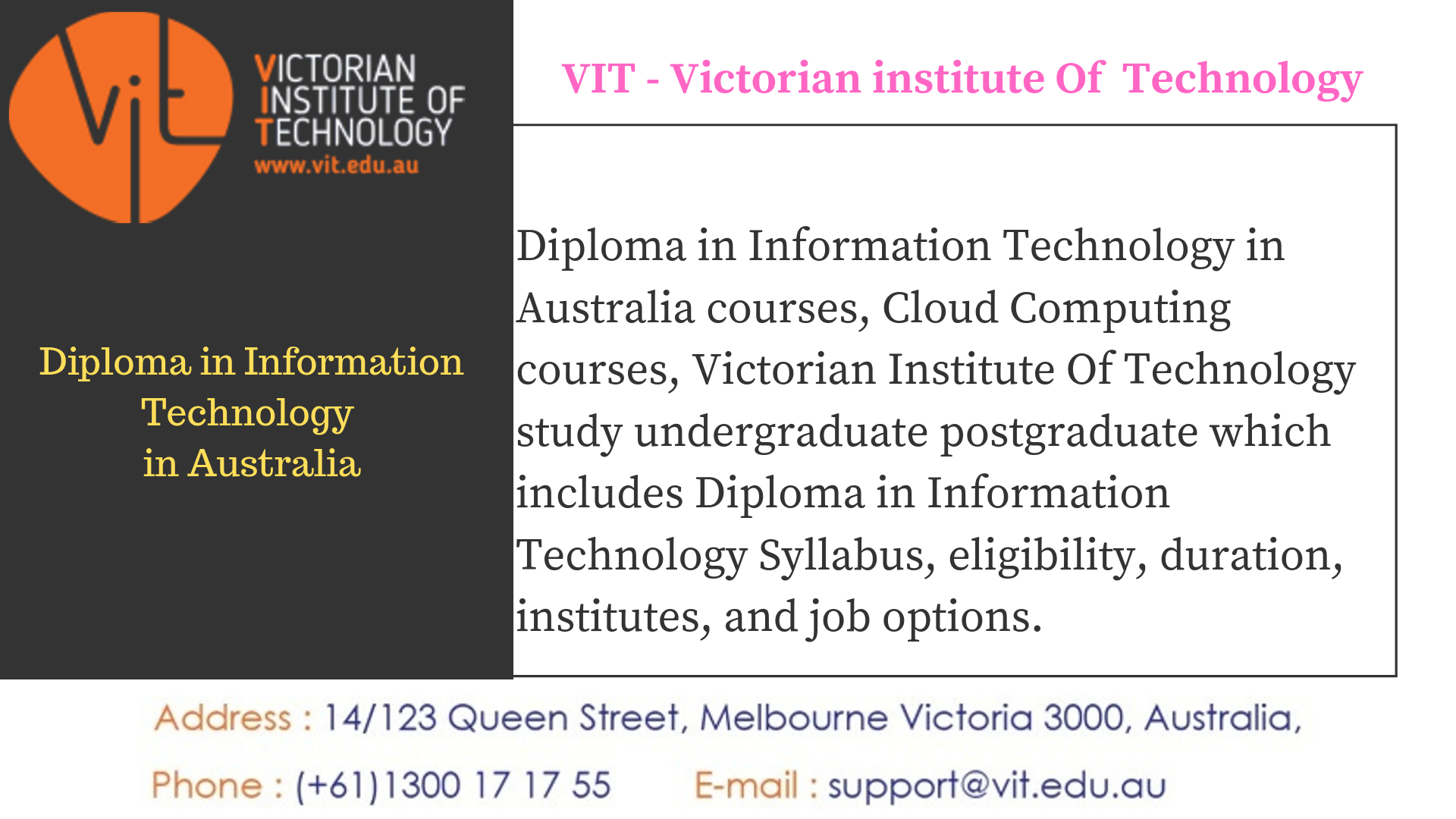 Diploma In Information Technology In Australia Information Technology Technology Postgraduate