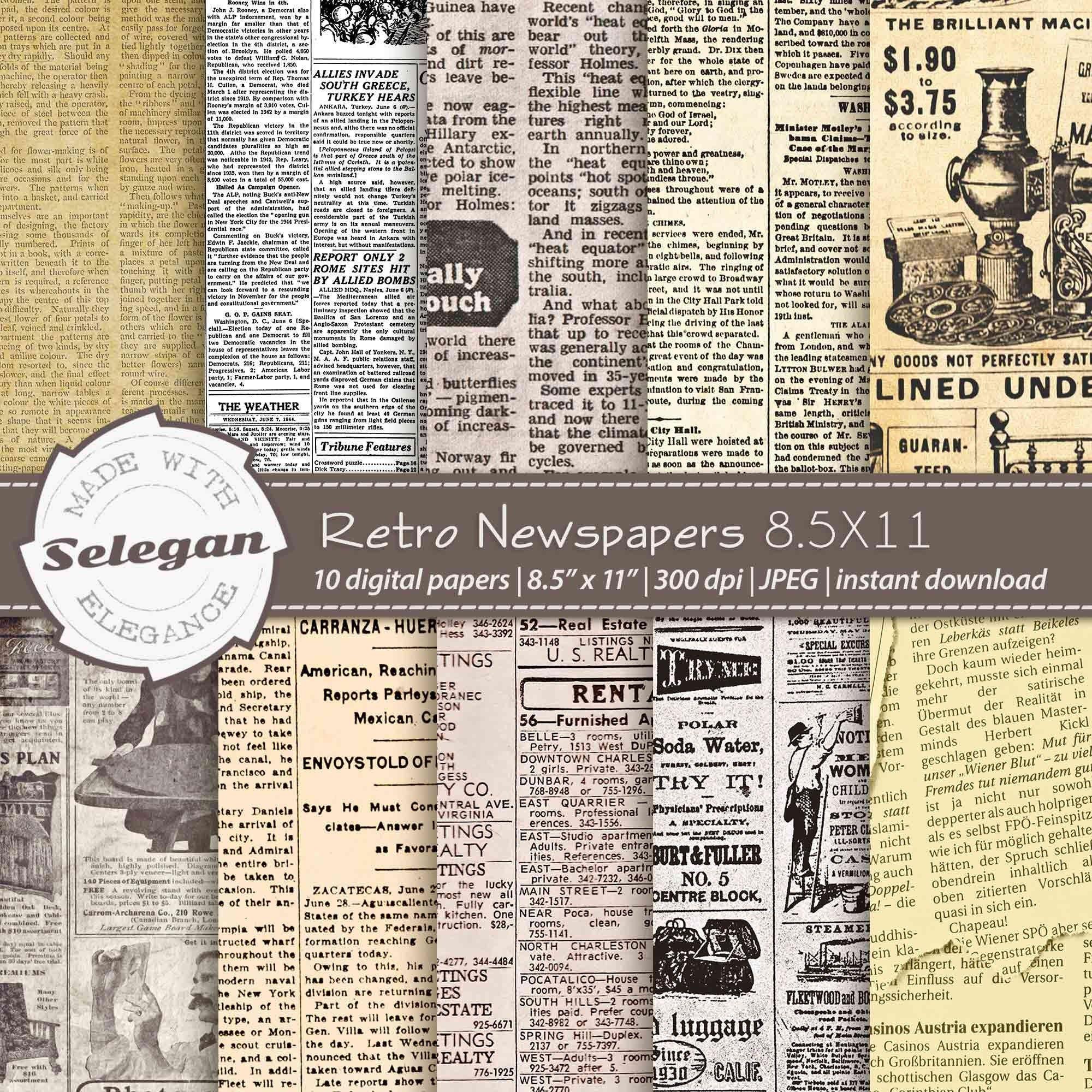 Retro Newspapers 8 5x11 Inch Letter Size Digital Printable Etsy In 2020 Printable Scrapbook Paper Vintage Journal Vintage Newspaper