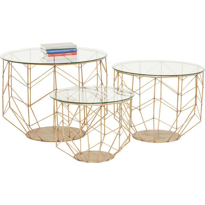 Coffee Table Wire Grid Brass 3 Set Kare Design With Images Coffee Table Coffe Table Side Table
