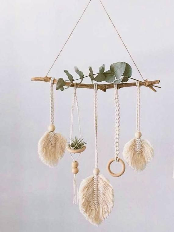 Photo of Macrame air plant holder, knotted air plant hanger, air plant display hanging planter, tillandsia hanger, macrame leaves feathers wall decor
