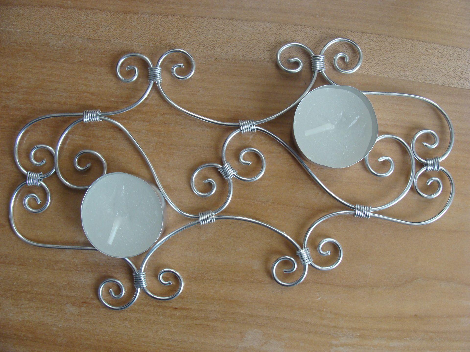 bougeoir fil aluminium pour d coration de table bijoux. Black Bedroom Furniture Sets. Home Design Ideas