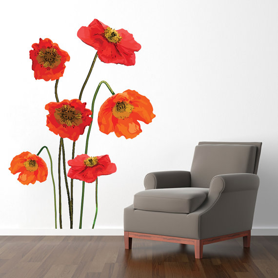 poppies wall decals printed flowers and shapes wall stickers