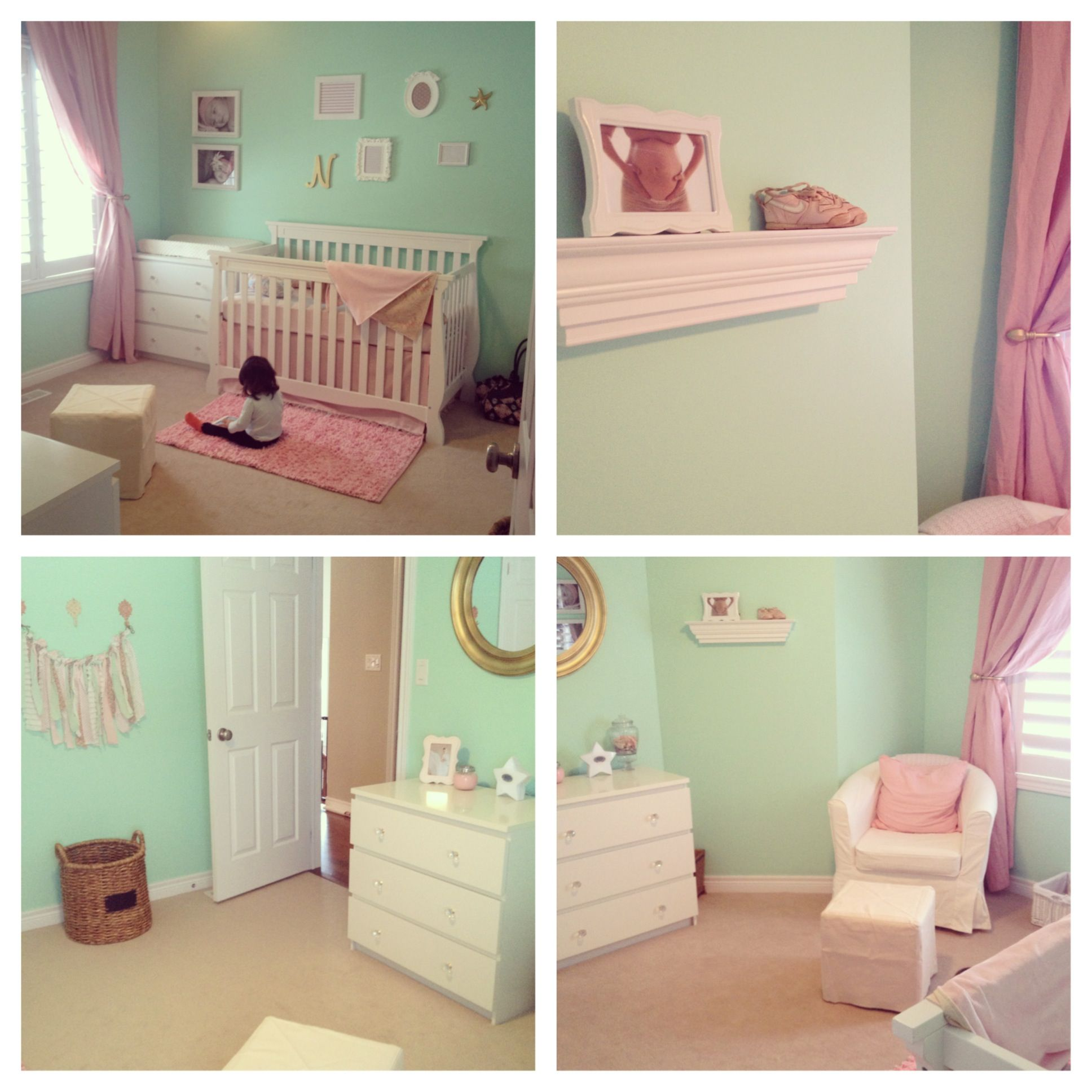 Mint green pink and gold baby girl nursery decoraci n for Decoracion hogares infantiles