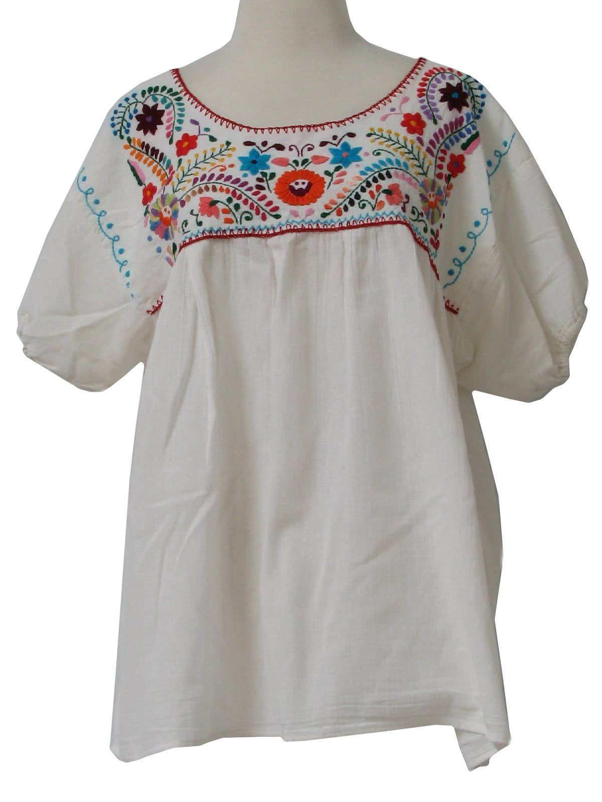 1970's Mexican Blouse Womens Embroidered Hippie Shirt ...