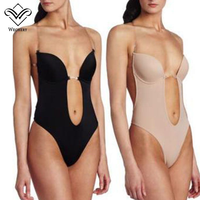 4e373d74c875c Wechery Vestido Backless Shapewear Deep Plunge Thong Body Shaper Tops  Invisible Bra Under Dress Sexy Clear Strap