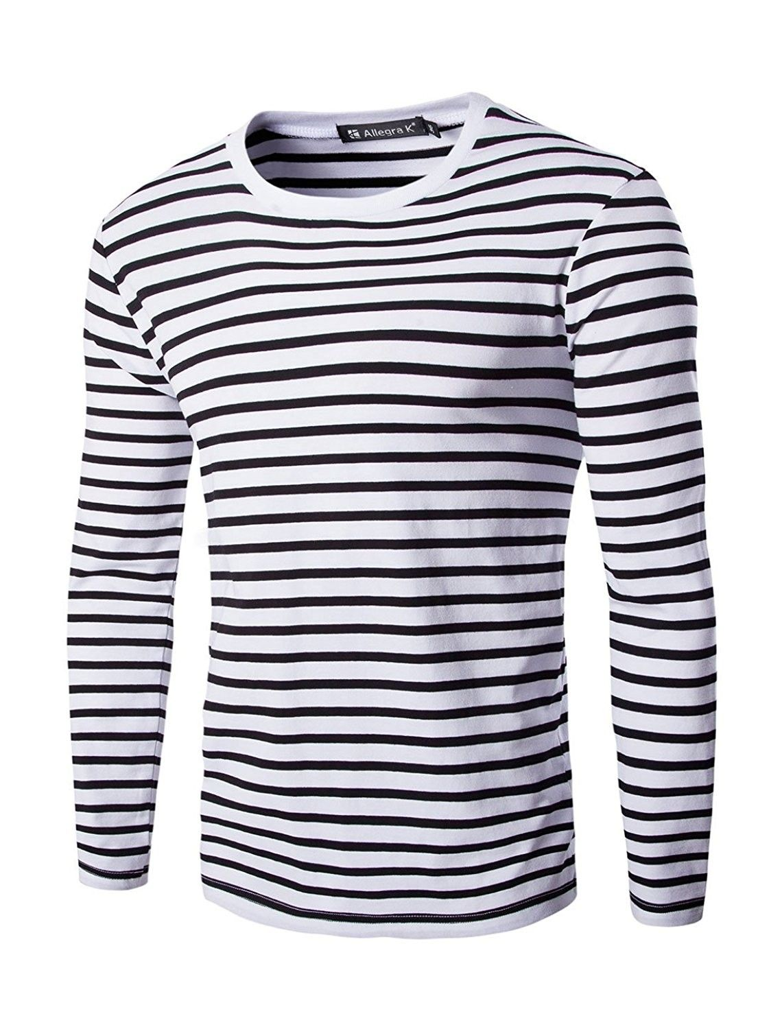 Men Casual Pullover Basic Crew Neck Long Sleeve Striped Tee T Shirt