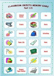 English Worksheet Classroom Objects Memory Game Part 1 3