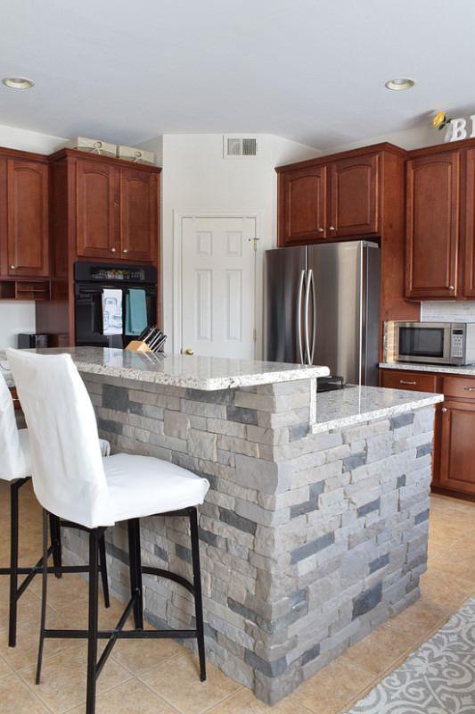 kitchen makeover reveal kitchen makeover reveal   airstone faux stone and kitchen island bar  rh   pinterest com