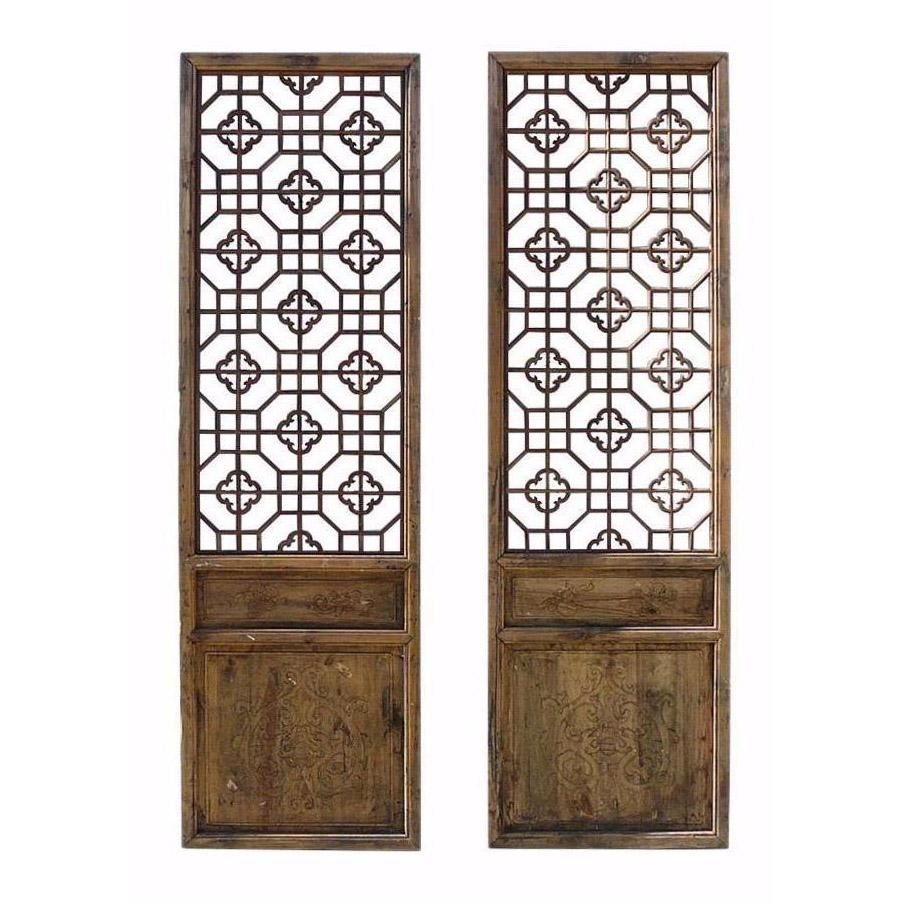 Antique Pair Chinese Wood Geometric Wall Panel Headboard Accent Cs734s Antique Chinese Furniture Antiques Panel Wall Paneling