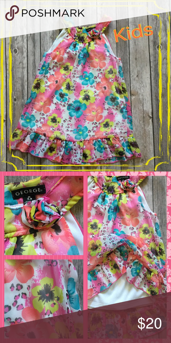 "💛GIRLS DRESS💛🌸H/P🌸 Super cute Floral print sleeveless double layer dress with a ruffled edge. Adorable neckline.   📐 Measurements 📐      Approx. Center Front Length 19-1/2""     Approx. Side Length from Shoulder 23"" George Dresses"