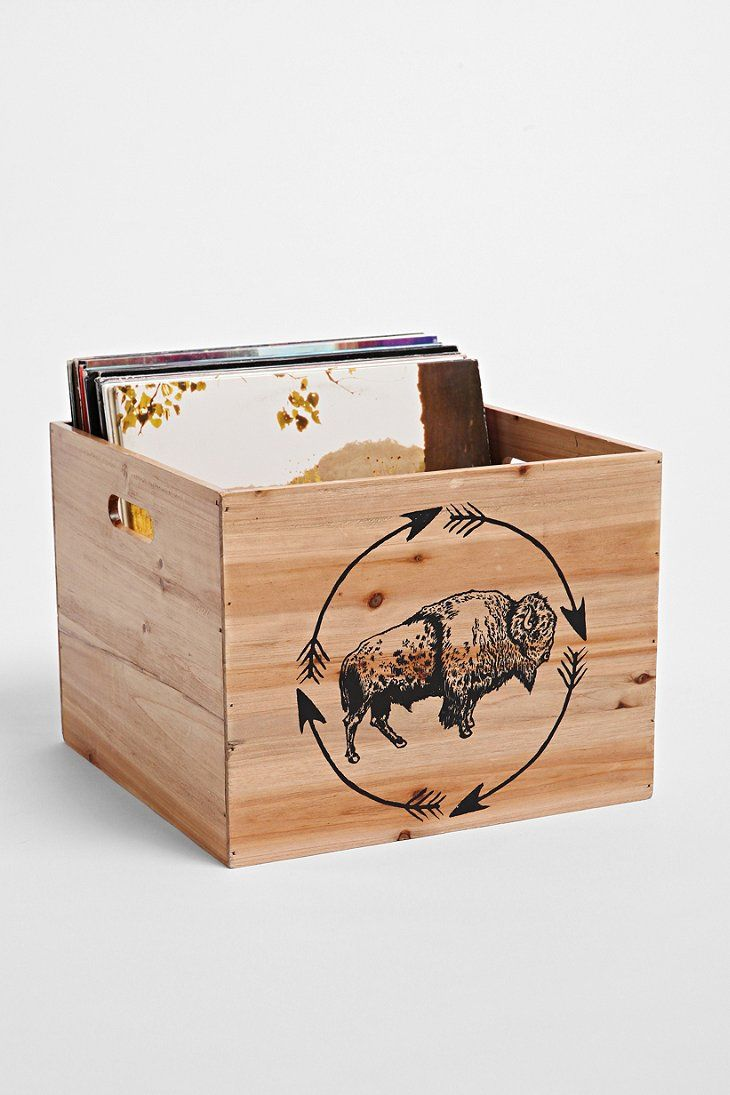 4040 Locust Bison Wood Storage Crate - Urban Outfitters
