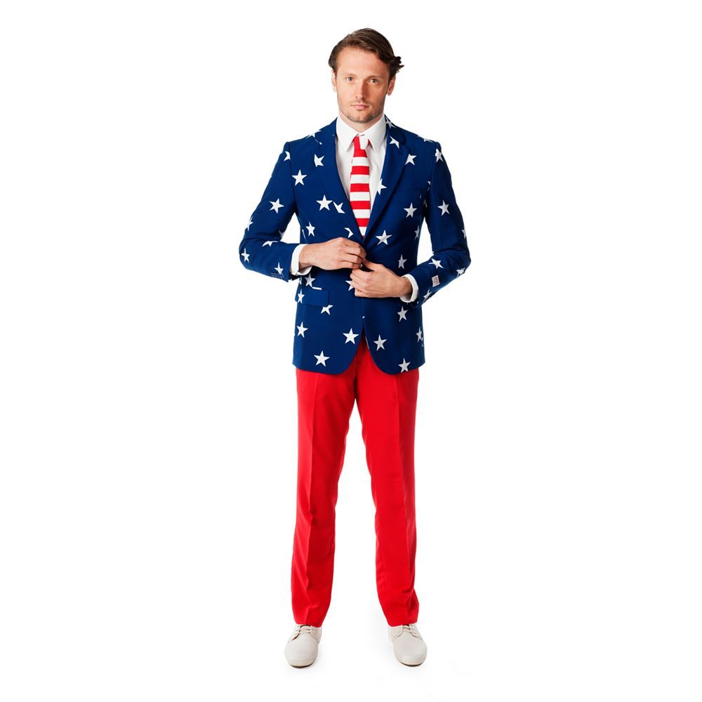 Oppo Suits Stars /& Stripes 3 Piece Suit Men/'s Size 40 Jacket Pants Tie Included